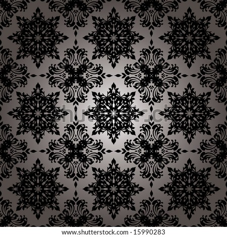 stock vector : Black and white floral background wallpaper with repeat
