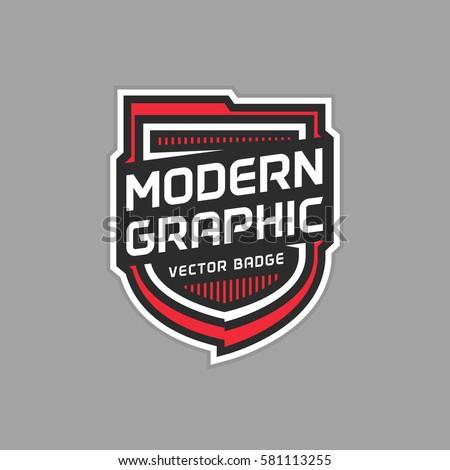 modern shield badge vector