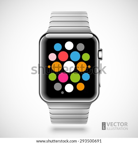 Modern shiny smart watch with steel bracelet applications icons on screen isolated on white background. RGB EPS 10 vector illustration