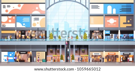 Modern Shopping Mall Interior With Many People Big Retail Store