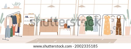 Modern showroom interior with fashion accessories and clothes on hanger racks and shelves. Inside empty boutique shop with furniture and stuff. Horizontal flat vector illustration of retail store