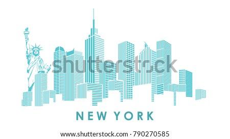Modern silhouette of the New York city skyline