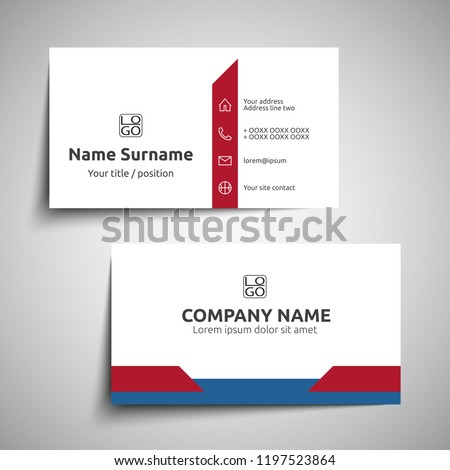 Modern simple business card set, template or visiting card. Vector illustration.