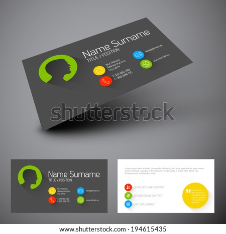 Minimalist business card template download free vector art modern simple business card template with flat user interface and long shadows colourmoves