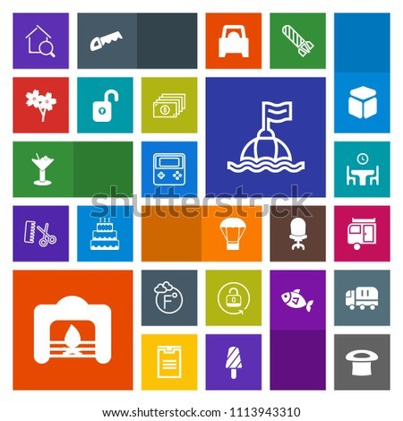 Modern, simple, colorful vector icon set with arrow, safety, technology, cherry, real, food, table, dinner, hat, security, fahrenheit, open, fireplace, air, sea, warm, search, glass, scale, buoy icons