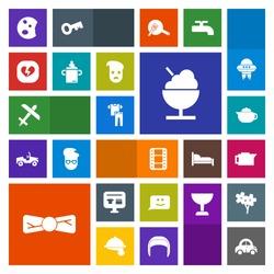 Modern, simple, colorful vector icon set with doughnut, transport, breakfast, espresso, smile, tie, cart, tea, entertainment, broken, coffee, drink, icecream, airplane, food, fashion, shirt, car icons
