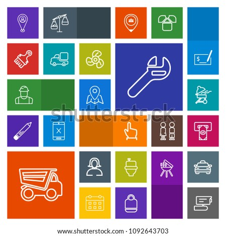 Modern, simple, colorful vector icon set with finance, pin, tv, restroom, bbq, tool, finger, girl, record, wc, click, map, barbecue, equipment, dump, touch, button, atm, worker, dumper, location icons