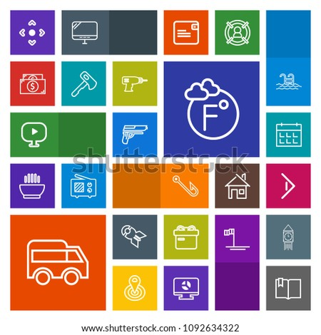 Modern, simple, colorful vector icon set with gun, hook, media, thermometer, right, bomb, war, present, schedule, bus, click, button, handgun, rod, nuclear, book, day, gift, weapon, holiday, web icons #1092634322