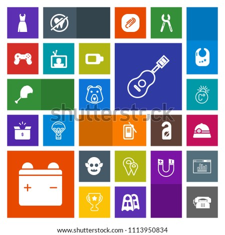 Modern, simple, colorful vector icon set with ink, scale, fiction, battery, japan, female, play, concert, technology, game, fahrenheit, suzuri, map, thermometer, monster, pin, phone, tv, guitar icons