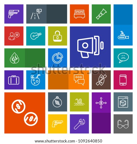 Modern, simple, colorful vector icon set with message, pie, handgun, gun, direction, chat, cash, sunglasses, chart, business, north, firearm, landscape, glasses, bubble, fashion, weapon, tree icons #1092640850
