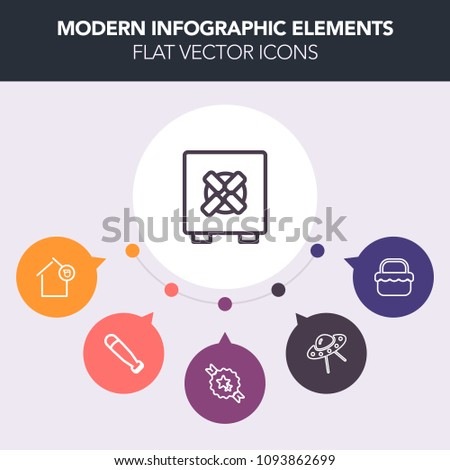 Modern, simple, colorful vector infographic background with loan, safety, science, ribbon, bank, meal, basket, protection, ufo, baseball, finance, wood, invasion, owner, estate, picnic, security icons