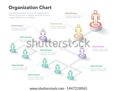 Modern simple company organization hierarchy chart template with place for your content. Easy to use for your website or presentation.