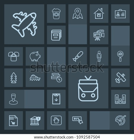 Modern, simple, dark vector icon set with download, bag, avatar, video, transport, instrument, business, travel, leather, shopping, folk, play, plane, flight, buy, sea, camera, sound, nature icons #1092587504