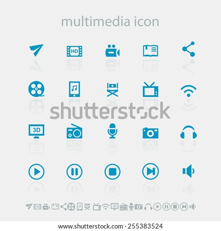 Modern simple flat design multimedia icons