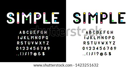 Modern simple font and alphabet. Colorful vector letters and numbers