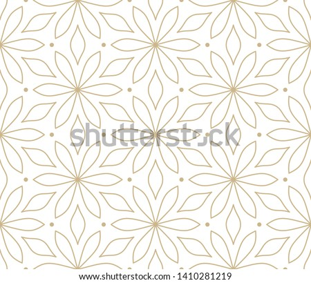Modern simple geometric vector seamless pattern with gold flowers, line texture on white background. Light abstract floral wallpaper, bright tile ornament.