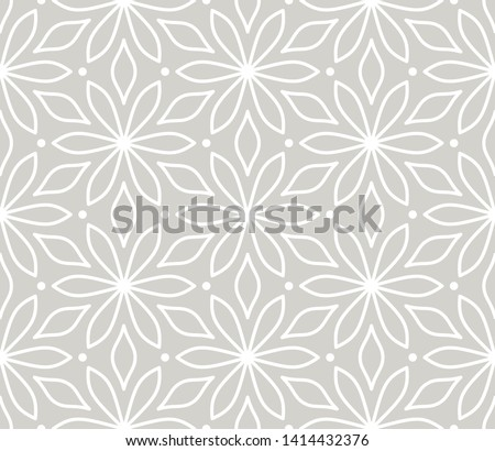 Modern simple geometric vector seamless pattern with white flowers, line texture on grey background. Light gray abstract floral wallpaper, bright tile ornament.