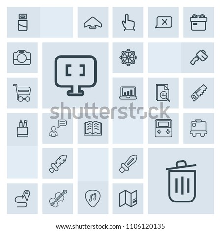 Modern, simple, grey vector icon set with music, sound, trash, sword, plug, can, button, luggage, bag, computer, navigation, paper, technology, musical, laptop, violoncello, airport, education icons #1106120135