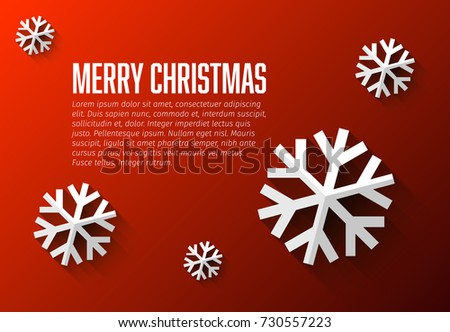 Modern simple minimalistic christmas card template with flat design snow flakes
