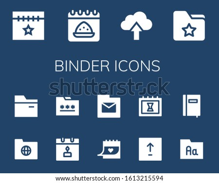 Modern Simple Set of binder Vector filled Icons. Contains such as Calendar, Upload, Folder, Notebook and more Fully Editable and Pixel Perfect icons.