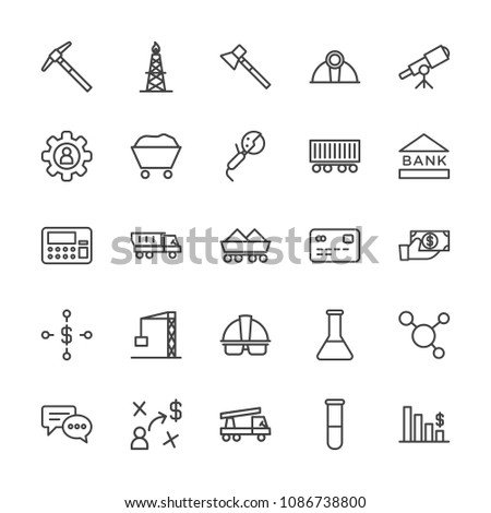 Modern Simple Set of business, industry, science Vector outline Icons. Contains such Icons as  astronomy, crane,  hammer,  molecule,  gas and more on white background. Fully Editable. Pixel Perfect.