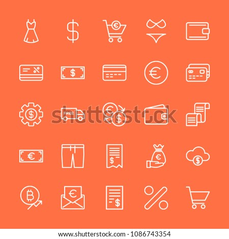 Modern Simple Set of clothes, money, shopping Vector outline Icons. Contains such Icons as fashion,  investment, discount,  cheque,  check and more on orange background. Fully Editable. Pixel Perfect. #1086743354