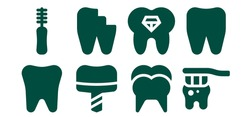 Modern Simple Set of enamel Vector filled Icons. Contains such as Tooth, Floss, Dental implant, Broken tooth and more Fully Editable and Pixel Perfect icons.