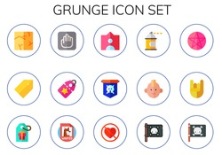Modern Simple Set of grunge Vector flat Icons. Contains such as crack, tag, vestige, jolly roger, spray paint, punk, pentacle and more Fully Editable and Pixel Perfect icons.