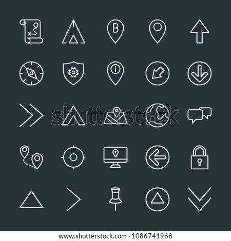 Modern Simple Set of location, arrows, chat and messenger, security Vector outline Icons. Contains such Icons as  lock,  position,  handle and more on dark background. Fully Editable. Pixel Perfect.