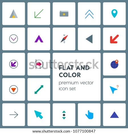 Modern Simple Set of location, arrows, cursors, bookmarks Vector flat Icons. Contains such Icons as bookmark,  next, summer,  pin,  finger and more on grey background. Fully Editable. Pixel Perfect