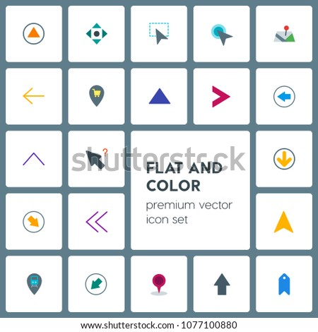 Modern Simple Set of location, arrows, cursors, bookmarks Vector flat Icons. Contains such Icons as  circular,  hand, arrow,  next,  scroll and more on grey background. Fully Editable. Pixel Perfect
