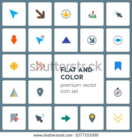 Modern Simple Set of location, arrows, cursors, bookmarks Vector flat Icons. Contains such Icons as down, target,  ship,  circle,  web,  next and more on grey background. Fully Editable. Pixel Perfect
