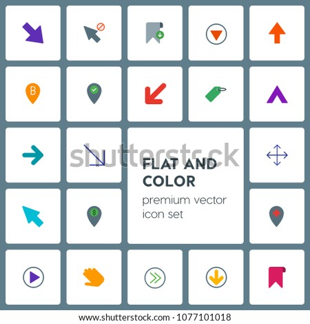 Modern Simple Set of location, arrows, cursors, bookmarks Vector flat Icons. Contains such Icons as location,  web,  diagonal,  paper,  next and more on grey background. Fully Editable. Pixel Perfect