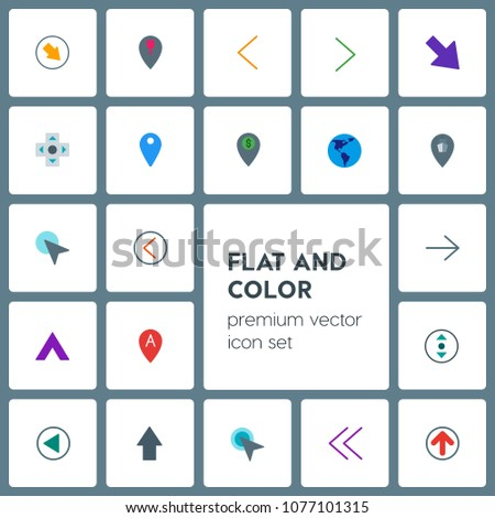 Modern Simple Set of location, arrows, cursors, bookmarks Vector flat Icons. Contains such Icons as restaurant,  ship, up,  next,  internet and more on grey background. Fully Editable. Pixel Perfect