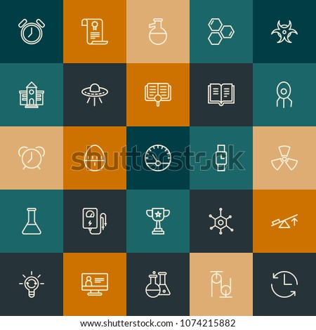 Modern Simple Set of science, time, education Vector outline Icons. Contains such Icons as  equipment,  chemistry, science,  red and more on vintage colors background. Fully Editable. Pixel Perfect. #1074215882