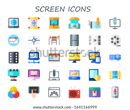 Modern Simple Set of screen Vector flat Icons. Contains such as laptop, scroll, arcade machine, siam paragon, tablet, computer and more Fully Editable and Pixel Perfect icons. Zdjęcia stock ©