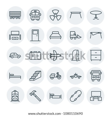 Modern Simple Set of transports, industry, furniture Vector outline Icons. Contains such Icons as  transportation,  road,  airplane,  cargo and more on white background. Fully Editable. Pixel Perfect