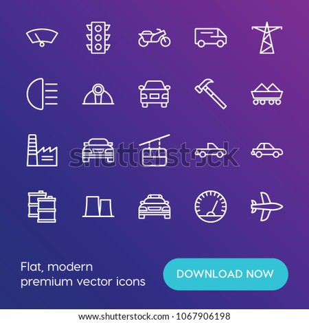 Modern Simple Set of transports, industry Vector outline Icons.  Contains such Icons as  vehicle, delivery,  car, speed, aircraft,  sky and more on gradient background. Fully Editable. Pixel Perfect.