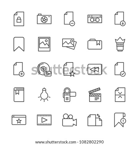 Modern Simple Set of video, photos, bookmarks, files Vector outline Icons. Contains such Icons as  media,  remove,  production, bookmark and more on white background. Fully Editable. Pixel Perfect.