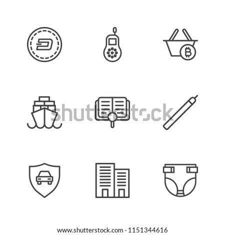 Modern Simple Vector icon set. Contains Icons building,  childhood,  architecture, child,  coin, baby,  office,  sign,  sea,  infant,  ship,  finance,  diaper,  currency,  contour,  auto,  wealth