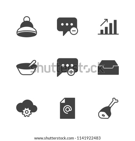 Modern Simple Vector icon set. Contains Icons  cold, inbox,  porridge,  accessory,  email,  diagram,  steak,  create,  financial,  cap,  fresh,  remove,  connection,  business, winter,  new,  fashion