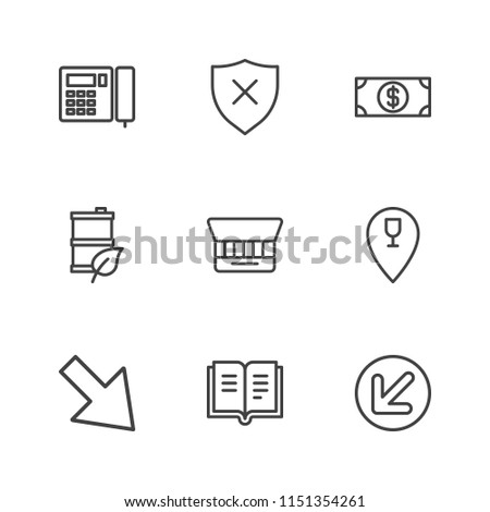 Modern Simple Vector icon set. Contains Icons  folder, restaurant,  diagonal, stationery,  insurance,  physically,  barrel,  up,  literature,  close up,  open,  gas,  identity,  down, diagonal, money