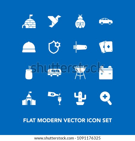 Stock Photo Modern, simple vector icon set on blue background with percussion, cactus, medieval, desert, bug, meat, road, barbecue, bbq, house, cooking, butterfly, drink, igloo, art, left, castle, zoom, ice icons