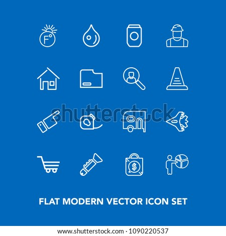 Modern, simple vector icon set on blue background with plane, sale, people, businessman, direction, tag, aircraft, temperature, bugle, showing, transport, fahrenheit, van, jazz, friction, retail icons