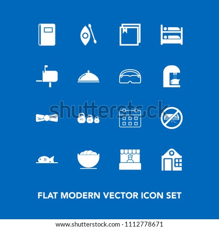 Modern, simple vector icon set on blue background with tie, box, mailbox, paper, business, bowl, river, dish, day, hostel, notebook, hotel, post, file, supermarket, timetable, web, activity, bow icons #1112778671