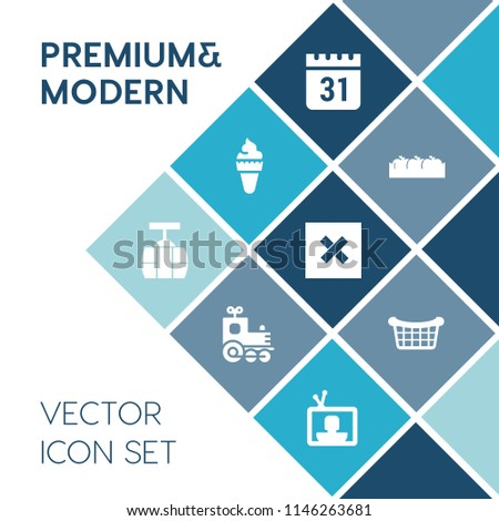 Modern, simple vector icon set on blue colorful background with sign, schedule, food, car, vanilla, transportation, event, cream, crate, technology, tv, box, nature, store, basket, cone, day icons