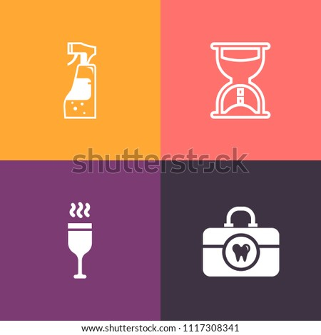 Modern, simple vector icon set on colorful background with bottle, washing, tooth, paste, clean, dentist, time, maid, equipment, wineglass, drink, watch, glass, alcohol, flow, hygiene, hour, red icons