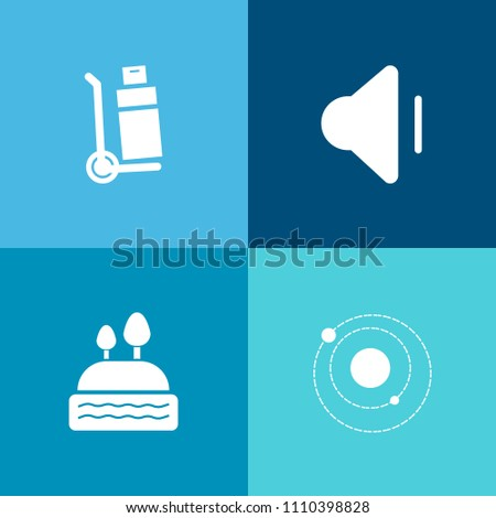 Modern, simple vector icon set on colorful background with industry, sign, system, saturn, cake, cargo, earth, shipping, loud, dessert, volume, sound, music, player, weight, universe, transport icons