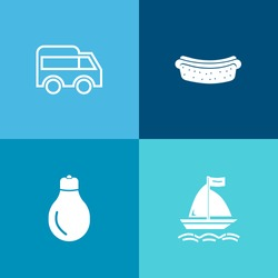 Modern, simple vector icon set on colorful background with move, highway, left, lightbulb, city, driveway, idea, lunch, sport, extreme, electricity, traffic, energy, light, meal, water, barbecue icons