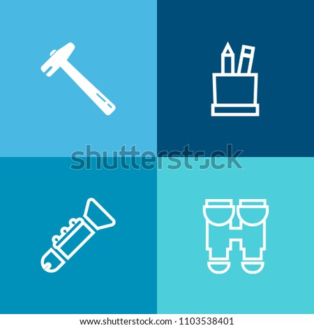 Modern, simple vector icon set on colorful background with tool, repair, search, work, toolbox, pliers, hammer, jazz, trumpet, reflection, watch, pencil, sound, spy, spanner, box, white, office icons